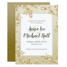 Elegant Gold Leaves Custom Wedding Save the Date Card