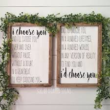 Id Choose You I Set Of 2 Quote Wedding Anniversary Bedroom Decor Farmhouse Sign Rustic Painted Wood