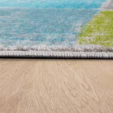 designer teppich wohnzimmer ausgefallene farbkombination karo türkis grün grau grösse 120x170 cm