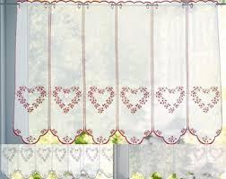 rideau de cuisine brise bise brise bise étamine brodée coeurs becquet