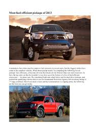 100 Most Fuel Efficient Trucks 2013 Fuel Efficient Pickups Of