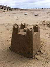 A Simple Sandcastle Built From Shaped Plastic Bucket