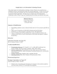 Example Resume Student Sample Entry Level Information Technology Samples Pdf