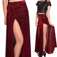 elegant two sides high slit pleated women maxi skirt on luulla
