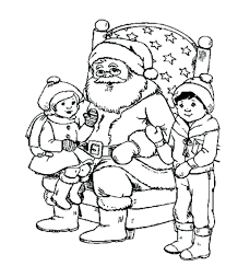 Kids Coloring Pages Printable Santa Sleigh Free And Reindeer Large Size