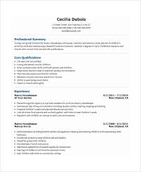 Nanny Housekeeper Resume Template Download