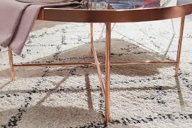 design couchtisch marmor optik schwarz rund ø82 5 cm mit kupfer metallgestell großer wohnzimmertisch lounge tisch