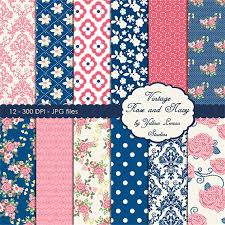 Vintage Floral Background ROSE AND NAVY Blue Pink Rose Navy Damask Flowers Polka Dots New Design