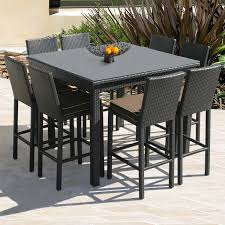 Patio Stylish Outdoor Wicker Bar Stool Backless Height Table Dining Room Dimension