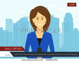 Female News Reporter With City Background Flat Illustration