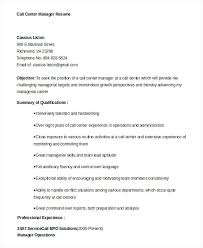 Call Center Objectives Manager Resume Template Centre
