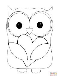 Click The Valentine Day Owl Hugging A Heart Coloring Pages To View Printable Version Or Color It Online Compatible With IPad And Android Tablets