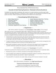 Housekeeping Resume Examples Cook Housekeeper Letter Hospital Supervisor Templates Samples