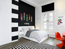 View In Gallery Teen Bedroom Black And White With Panton Chair Orange