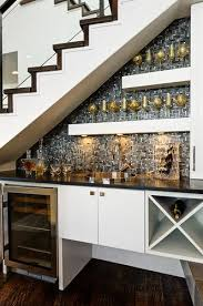 Accent Wall Under STAIRCASE Bar Tile Shelving All Staircase Great Use