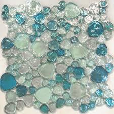 1sf blue iridescent random pattern glass mosaic tile kitchen sea