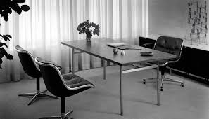 Pioneering private office design Florence Knoll table desk and credenza with Pollock Chairs