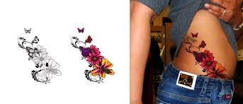 Floral Butterfly Tattoo Design By SuzanneMoseley
