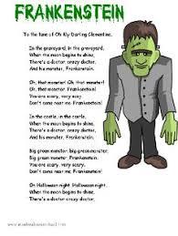 Poems About Halloween For Kindergarten by Halloween Frankenstein Poem Song Printable Good For Book