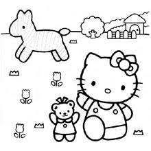 Hello Kitty Playing The Violin Farmer Coloring Page