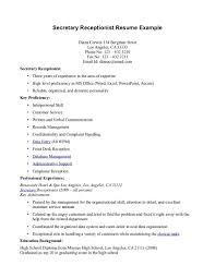 Medical Secretary Resume Lovely Samples For Receptionist Myacereporter Of