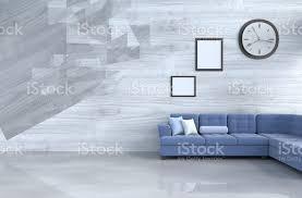 grauweiß wohnzimmer dekor mit blauem sofa wanduhr weiße holz wand fenster buch kissen grau weiße zementfußboden bilderrahmen die sonne scheint durch