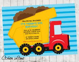 100 Truck Birthday Invitations Construction Invitation Instant Download