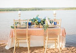 Sweetheart Table On The Lake Shore Styled Shoot Sequin Linen Sand
