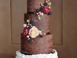 Rustic And Organic Wedding Cake With Chocolate Ganache Ruffles Handmade Sugar Blackberries Hypericum Berries Peonies Leaves Twi
