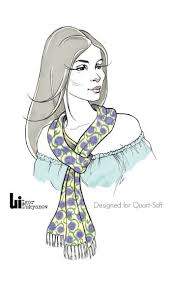 Illustration Of A Pretty Fashion Model With Scarf