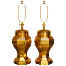 Brass Candlestick Buffet Lamps by Frederick Cooper Chinoiserie Brass Ginger Jar Lamps For Sale At