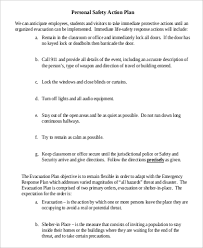 Sample Personal Safety Action Plan
