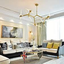 moerun sputnik moderne metall kronleuchter le baum ast hängele deckenleuchte mit milchglas lenschirm für esszimmer wohnzimmer küche insel