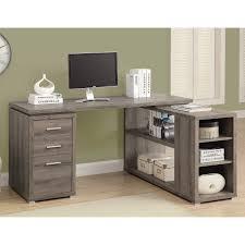 Bush Vantage Corner Desk Pure White by Monarch Computer Desk Dark Taupe Left Or Right Facing Corner
