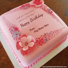 Girlfriend Name Birthday Wishes Pink Flower Cake