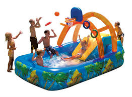High Quality Inflatable Pool With Slide And Basketball Bouncer Kids Water Park Home Backyard Swimming