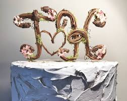 Two Letter Topper Standard Cursive Grapevine Rustic Cake Natural
