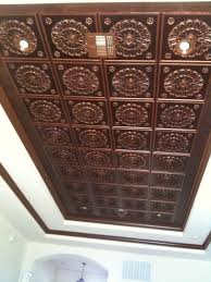 faux copper tin ceiling glue on around 10 00 24x24 tile with