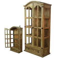 Honey Rustic Display Cabinet Real Solid Wood Western Cabin Lodge Curio Storage
