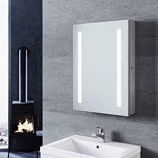 sonni spiegelschrank mit beleuchtung 50 70cm aluminium