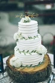 The Sweetest Tree Trunk Wedding Cake With Adorable Golden Topper Image By From Daisies