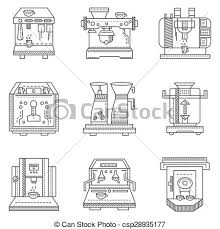 Professional Coffee Machines Flat Line Vector Icons