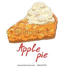 Hot delicious piece of apple pie with vanilla ice cream Hand drawn isolated illustration with