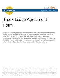 100 Truck Lease Agreement Template Trailer Freesampleagreementcom