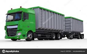 100 Bulk Truck And Transport Large Green Truck With Separate Trailer For Transportation Of