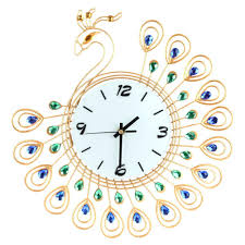 Large Multi Coloured Wall Clock Metal Luxury Diamond Peacock