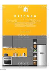 Interior Design Modern Kitchen Background 5 Stock Vektor Interior Design Modern Kitchen Banner 5 Stock Illustration Image Now