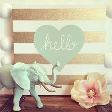 Gold Stripe Hello Heart Canvas In Sea Foam Mint Color By House Of Creative Designs Available At HOCDesignsMarket Etsy