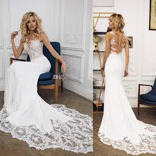 Mermaid Wedding Dresses Sheer Neck Sleeveless Illusion Bodice