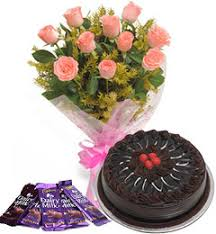 10 Pink roses bouquet and 5 dairy milk chocolate with chocolate cake